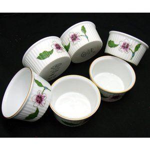 Royal Worcester flower bowl set 6 english ramekin